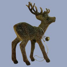 Flocked Glitter Deer Christmas Tree Ornament Deko Germany
