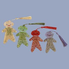 Plastic Sugar Coated Gingerbread Men Ornaments Green, Purple, Red and Peach