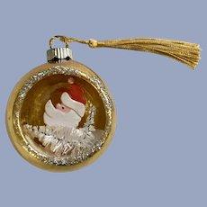 Vintage Mercury Glass Ball Ornament with Santa Claus Scene