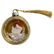 Vintage Mercury Glass Ball Ornament with Santa Claus Scene