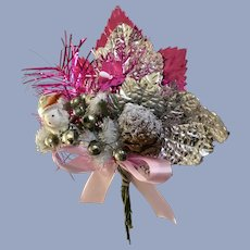 Vintage Christmas Corsage Spun Cotton, Pinecones, Pink and Silver Foil Leaves