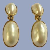 Large Faux Pearl Gold-tone Dangle Clip-on Earrings