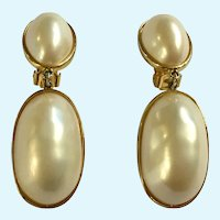 Large Faux Pearl Gold-tone Dangle Clip-on Earrings