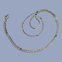 Sliver-tone Chain with Tiny Blue Sparkle Rhinestones