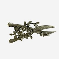 Pewter Garden Sheers with Flowers Brooch Pin