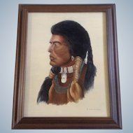 B Landwermeyer, Oil Painting, Portrait of Indian With Shell and Turquoise Necklace, Oil on Canvas Signed by Artist