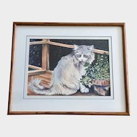 B. Donavon, Kitty Cat on Porch Watercolor Painting
