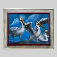 Stolz, Scoop of Pelicans Playing In Water Oil Painting
