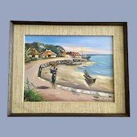 Tsuneyuki o, Japanese Coastal Island Scene Oil Painting