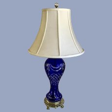 Large Cobalt Blue Cut to Clear Crystal Glass Lamp