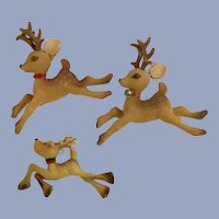 Vintage Flocked Christmas Reindeer Ornaments