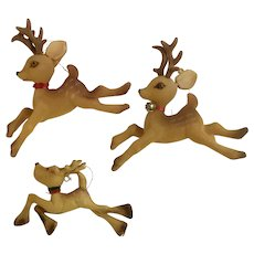 Vintage Flocked Christmas Reindeer Ornaments