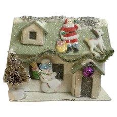 Retro Christmas Cardboard Glitter Sparkle House