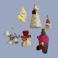 Mid-Century Christmas Santa Elf Bird Ornaments
