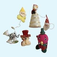 Mid-Century Christmas Santa Elf Bird Ornaments