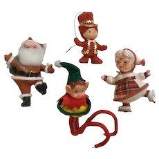Mid-Century Christmas Santa, Mrs. Claus Elf Pixies Ornaments