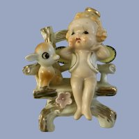 Mid-Century Baby Angel and Deer in Chair Figurine Japan