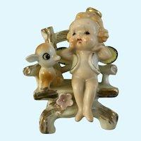 Mid-Century Baby Angel and Deer in Chair Figurine Japan