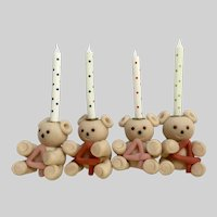 Birthday Candle Holder Teddy Bears 4 Years Old Candles Included
