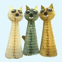 Vintage Rare Honeycomb Cat Decorations Japan