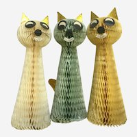 Vintage Rare Honeycomb Cat Decorations Japan