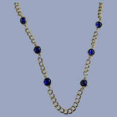 Vintage Gold-Tone Necklace with Blue Glass Beads