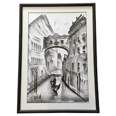 Bridge of Sighs Venetian Charcoal Painting Signed