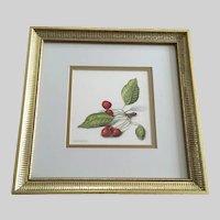 Stan (Stanley) Awbrey, Cherry Branch Watercolor Painting