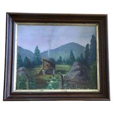Vintage Cabin in Wilderness Landscape Oil Painting