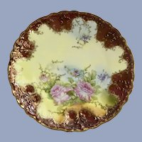 Pink Rose Floral Luncheon Plate  Welmar Germany