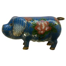 Vintage Cloisonne Hog Pig Figurine Enamel and Brass