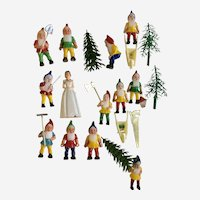 Vintage Princess and 12 Dwarfs Cake Toppers