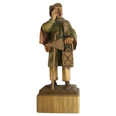 Anri Town Crier Watchman Wood Carving Figure