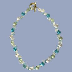 Glass Aqua Blue Sea Foam Green and Clear Beaded Necklace
