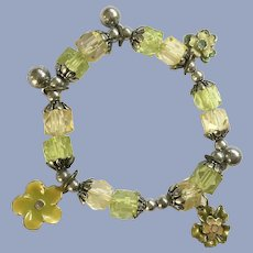 Floral Enamel Lime and Yellow Plastic Beaded Stretch Bracelet