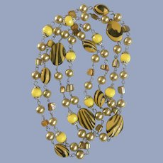 Tiger Striped Yellow & Black Beaded Necklace