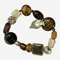 Safari Themed Black Brown Glass Beaded Bracelet