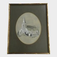 Church with Tall Steeple Watercolor Painting