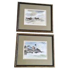 Coastal Beach Seascapes Watercolor Paintings