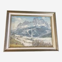 Impressionist Snow Covered Mountain Landscape Oil Painting Signed