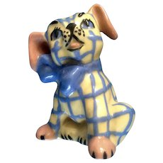One Vintage Ceramic Arts Studio Gingham Dog Salt or Pepper Shaker Mid-Century Figurine.