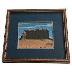 Arthur C Begay, Desert Bluff Monument Valley Tempera Painting