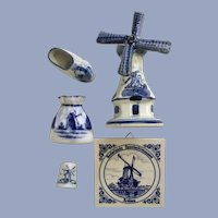 Holland Delft Blue Ceramic Miniatures Collection Group