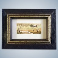 Betty Henderson, Miniature Watercolor Painting, Rural Landscape Homestead, Works on Paper Signed by Artist