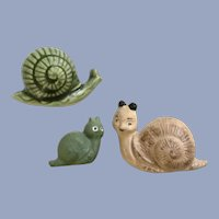 Three Vintage Pottery Clay Snail Figurines Group