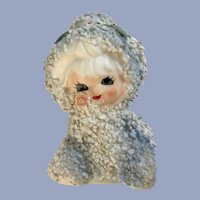 Lefton Christmas Snow Baby Girl Spaghetti Trim Ceramic Figurine Japan