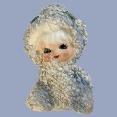 Lefton Christmas Snow Baby Girl Spaghetti Trim Ceramic Figurine Japan