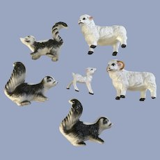 Vintage Miniature Plastic Animals Skunks & Bighorn Sheep Group