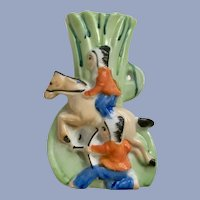 Attacking Native American Indian Chiefs Japan Vase