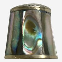 Inlaid Abalone Shell & Silver Colored Metal Sewing Thimble